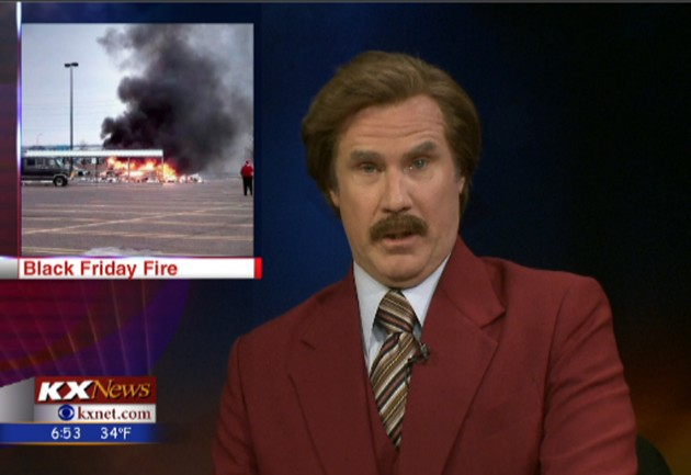 Ron Burgundy Participates In KXMB TV Bismarck Newscast